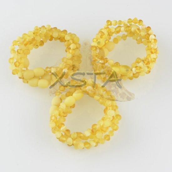 Amber teething bracelet baroque matte yellow raw