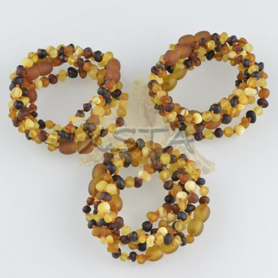 Amber teething bracelet baroque mixed raw