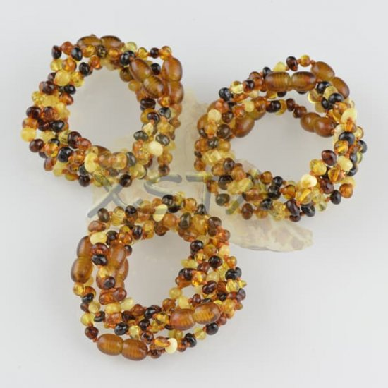 Amber teething bracelet baroque multi polished