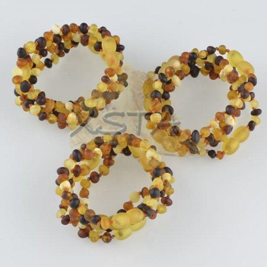 Amber teething bracelet baroque multi raw