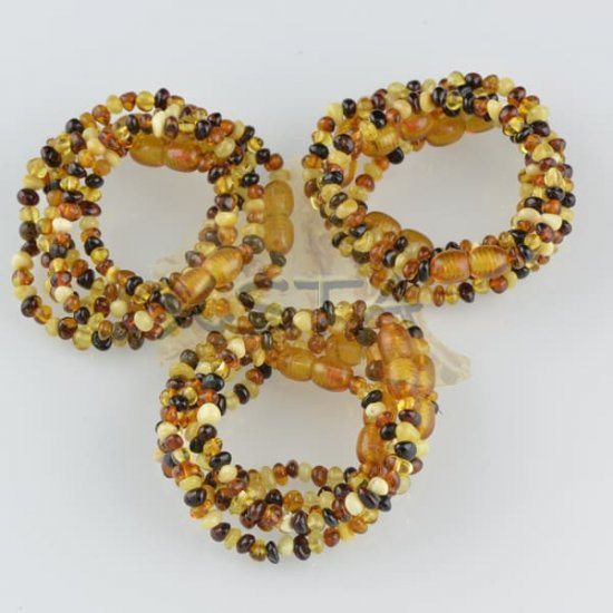 Amber teething bracelet multicolour polished
