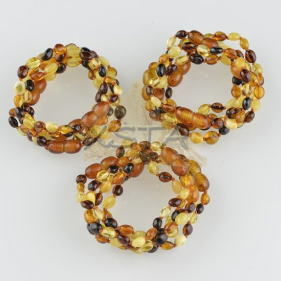Amber teething bracelet olive multicolour polished