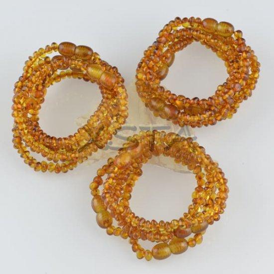 Amber teething bracelets Polished cognac