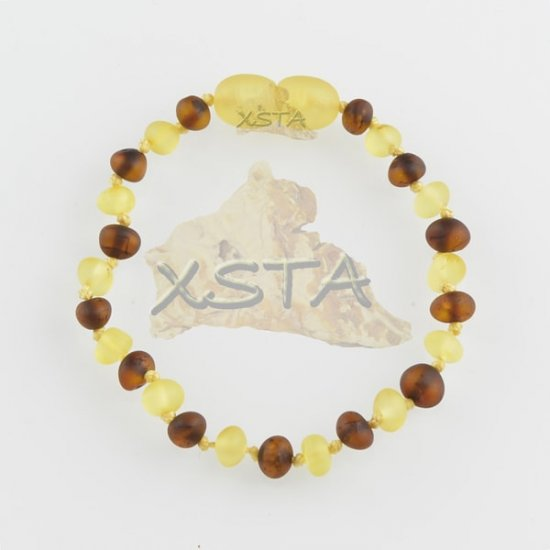 Amber teething bracelet baroque cherry yellow raw