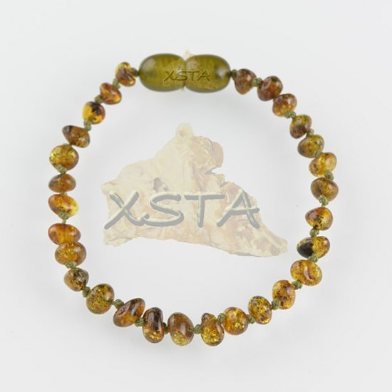 Amber teething bracelet baroque dark green polished