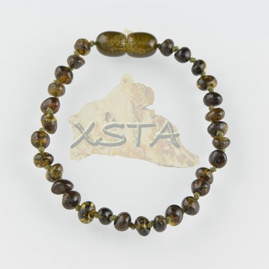 Amber teething bracelet baroque green polished