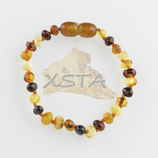 Amber teething bracelet baroque multi polished
