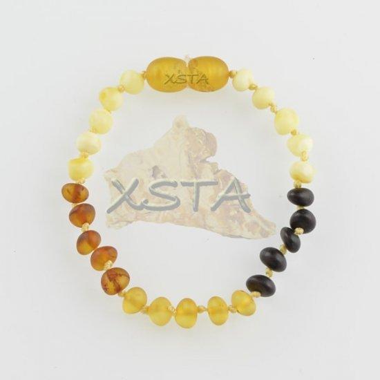 Amber teething bracelet baroque multicolour raw