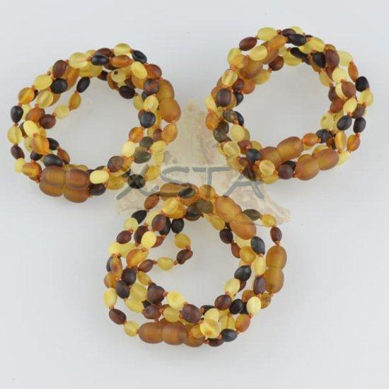 Teething amber bracelet raw olive
