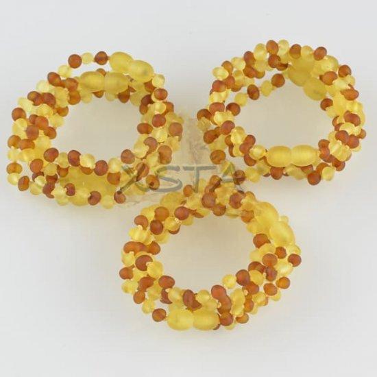 Teething amber bracelets raw lemon cognac