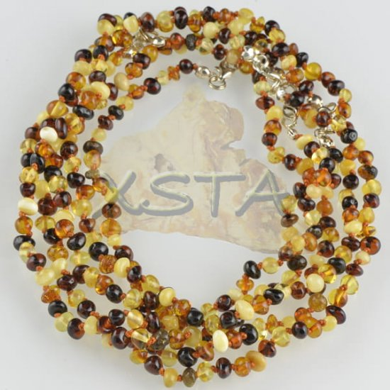 Amber teething necklace multicolour with silver