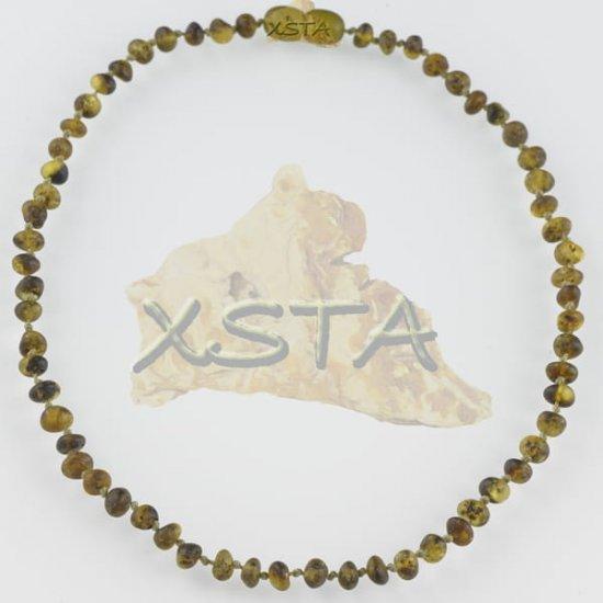 Baltic amber teething necklace medium green raw