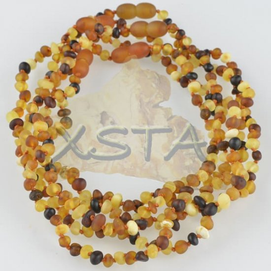 Amber teething necklace multicolour raw