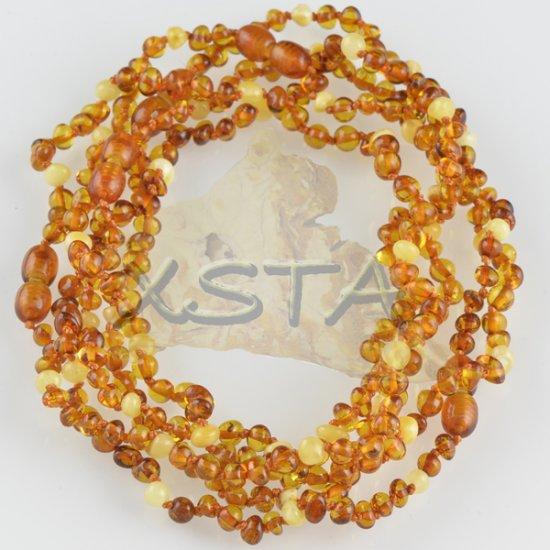 Teething amber necklace polished light cognac matt