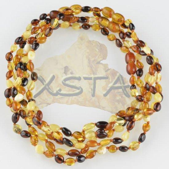 Amber teething necklace olive multicolour polished