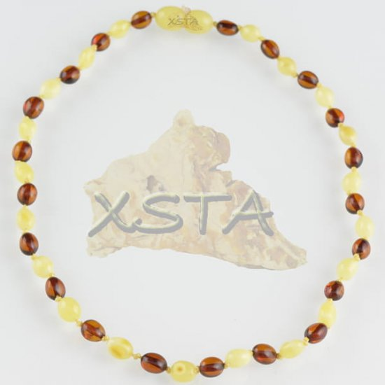 Olive polished matt dark cognac amber teething necklace