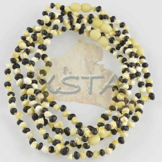 Raw white black amber teething necklace