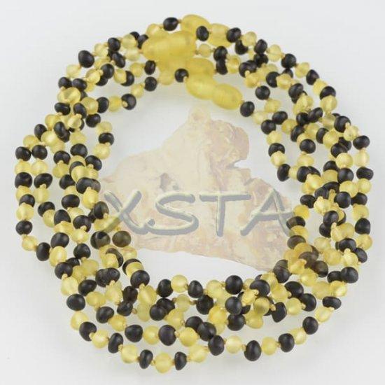 Raw yellow black amber teething necklace
