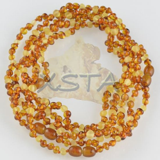 Teething necklace cognac raw yellow