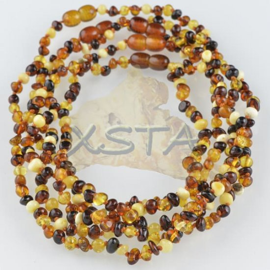 Amber teething necklace multicolour polished