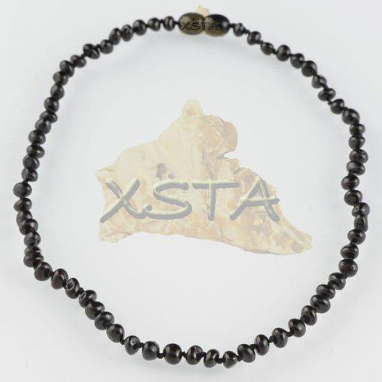 Teething necklace baroque black polished
