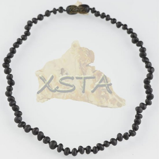 Teething necklace baroque black raw