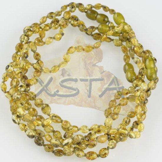 Polished light green olive teething necklace