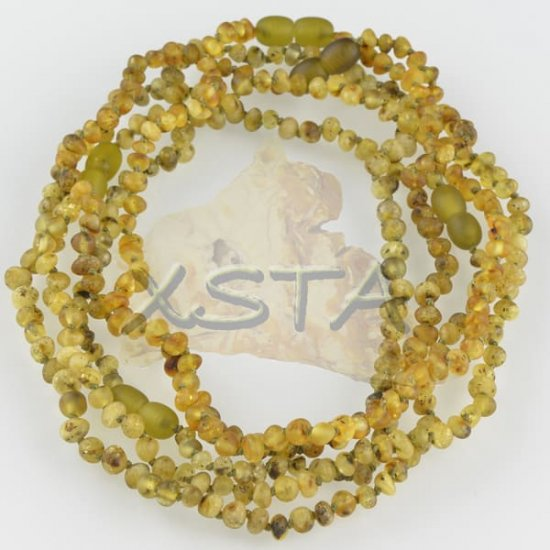 Teething necklace baroque light green raw