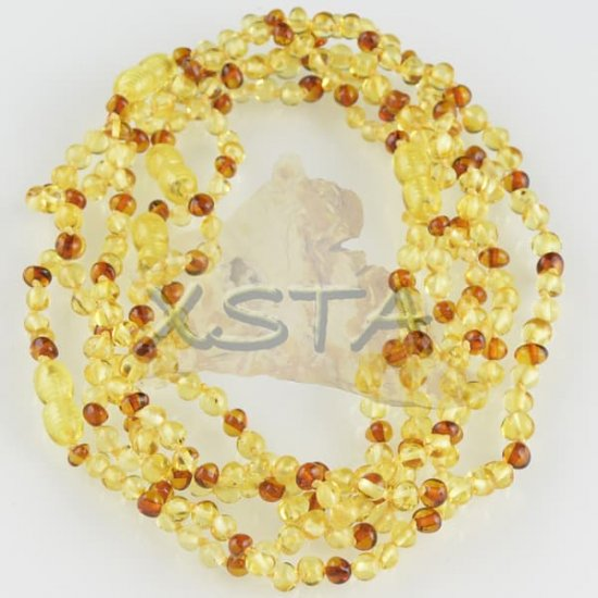Teething baby necklace polished yellow light cognac