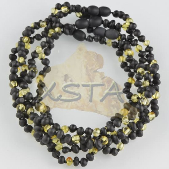 Teething babies necklaces raw black polished yellow