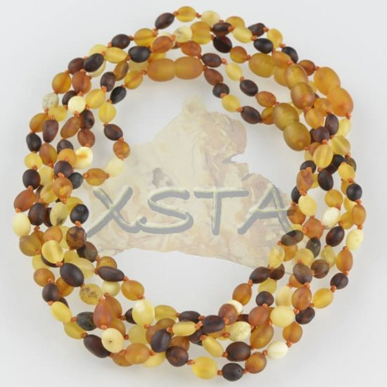 Amber teething necklace raw multicolour