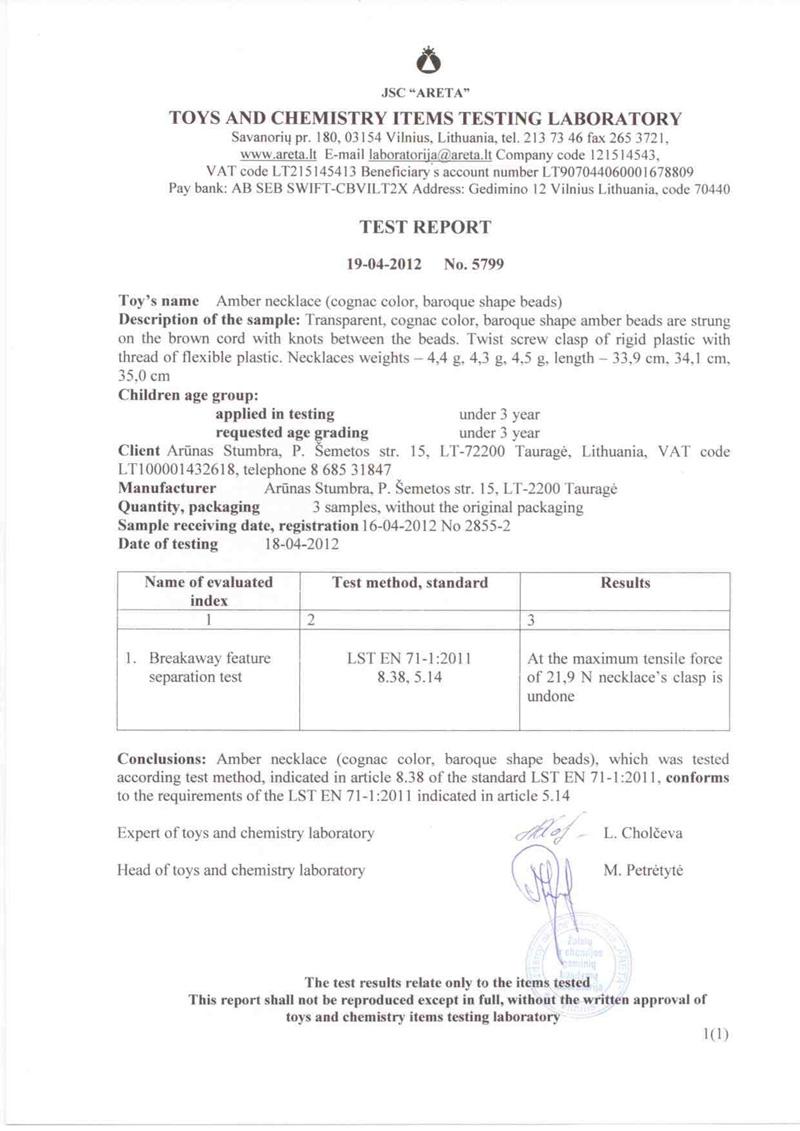 XSTA amber baby teething necklace certificate www.amber-xsta.com