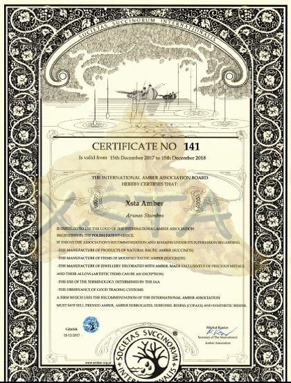 Amber certificate from IAA