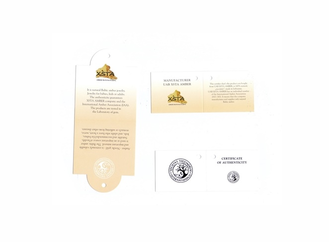 Amber certificates of authenticity for each product