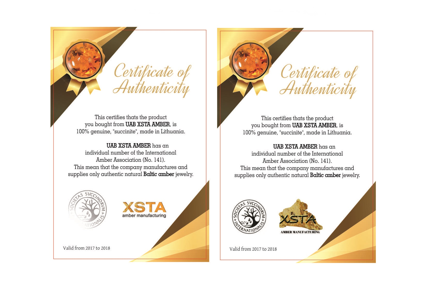 Amber certificate of authenticity